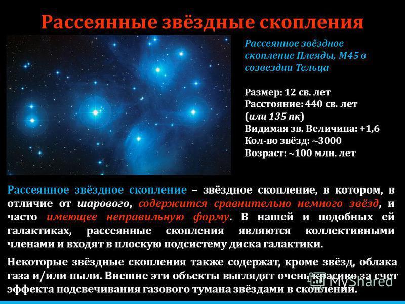 Рассеянные звёздные скопления Некоторые звёздные скопления также содержат, кроме звёзд, облака газа и/или пыли. Внешне эти объекты выглядят очень красиво за счет эффекта подсвечивания газового тумана звёздами в скоплении. Рассеянное звёздное скоплени
