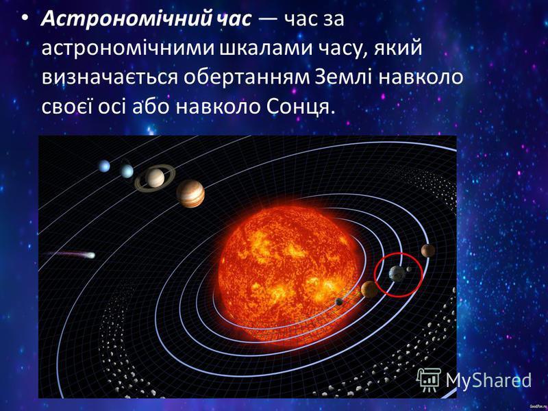 Астрономічний час час за астрономічними шкалами часу, який визначається обертанням Землі навколо своєї осі або навколо Сонця.