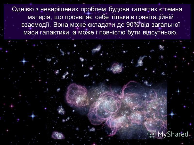 Однією з невирішених проблем будови галактик є темна матерія, що проявляє себе тільки в гравітаційній взаємодії. Вона може складати до 90% від загальної маси галактики, а може і повністю бути відсутньою.