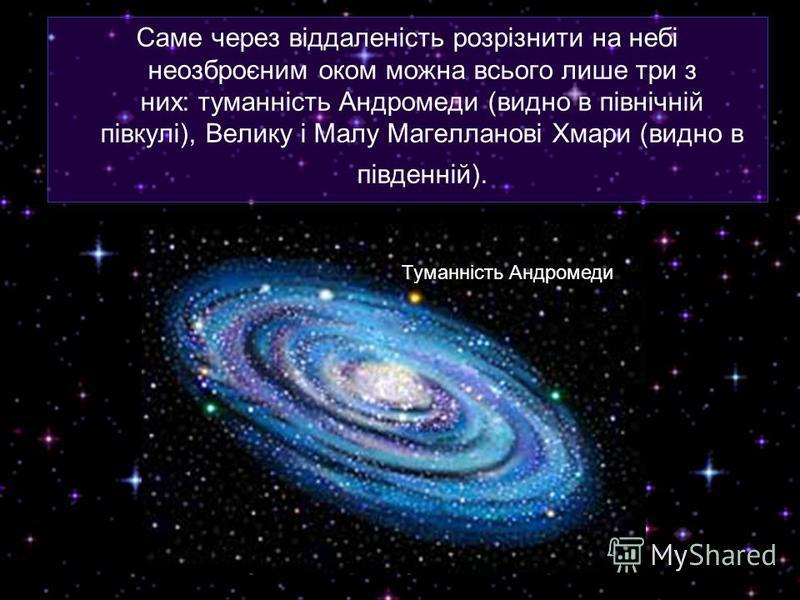 Саме через віддаленість розрізнити на небі неозброєним оком можна всього лише три з них: туманність Андромеди (видно в північній півкулі), Велику і Малу Магелланові Хмари (видно в південній). Туманність Андромеди
