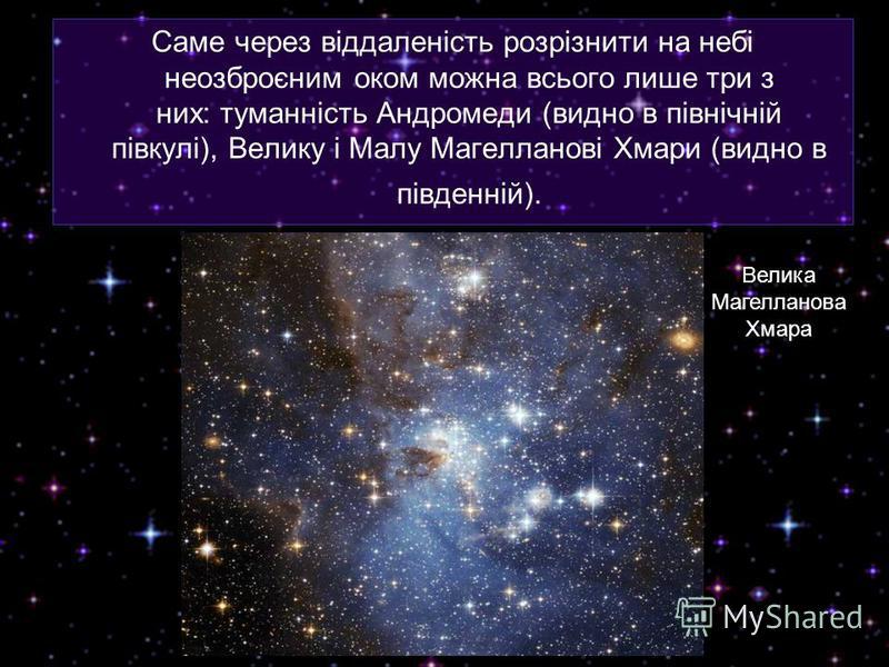 Саме через віддаленість розрізнити на небі неозброєним оком можна всього лише три з них: туманність Андромеди (видно в північній півкулі), Велику і Малу Магелланові Хмари (видно в південній). Велика Магелланова Хмара