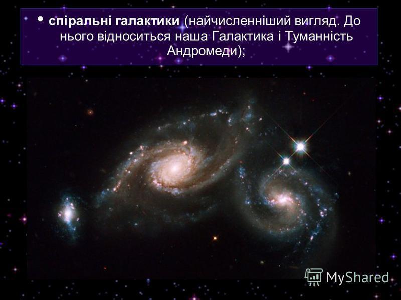 спіральні галактики (найчисленніший вигляд. До нього відноситься наша Галактика і Туманність Андромеди);