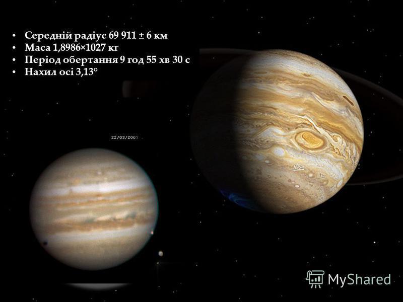 Середній радіус 69 911 ± 6 км Маса 1,8986×1027 кг Період обертання 9 год 55 хв 30 с Нахил осі 3,13° Середній радіус 69 911 ± 6 км Маса 1,8986×1027 кг Період обертання 9 год 55 хв 30 с Нахил осі 3,13°