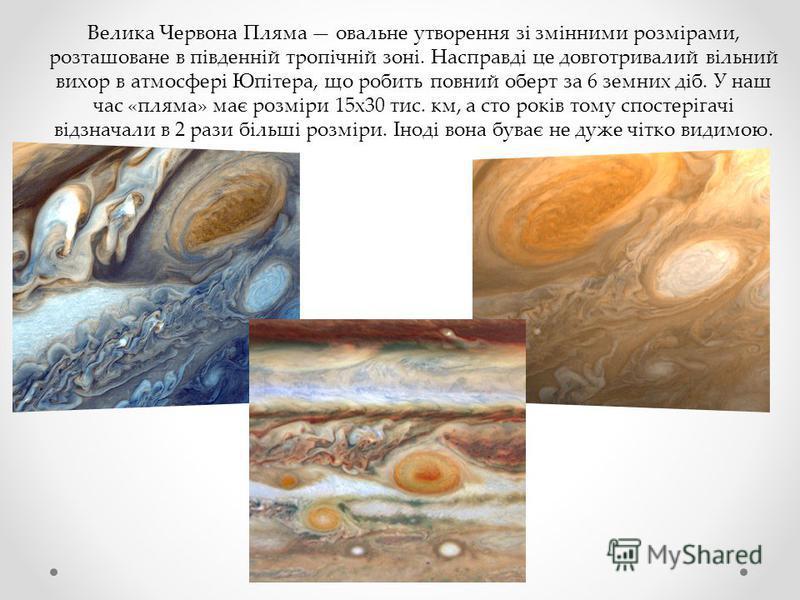 Велика Червона Пляма овальне утворення зі змінними розмірами, розташоване в південній тропічній зоні. Насправді це довготривалий вільний вихор в атмосфері Юпітера, що робить повний оберт за 6 земних діб. У наш час «пляма» має розміри 15х30 тис. км, а