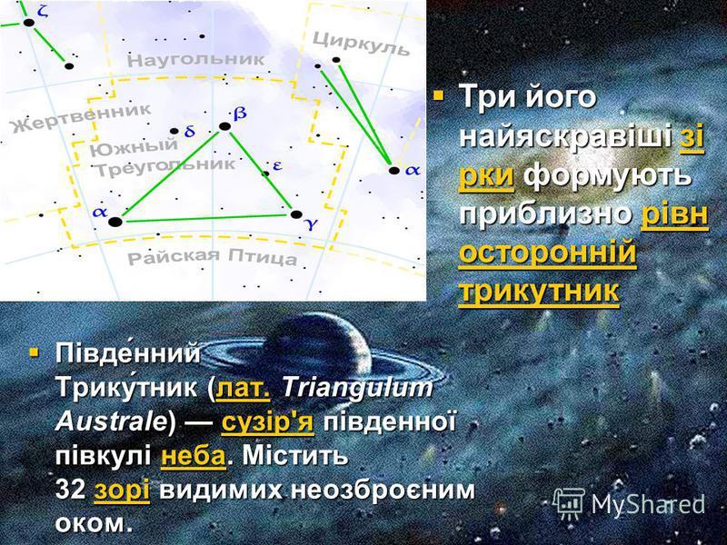 Півде́нний Трику́тник (лат. Triangulum Australe) сузір'я південної півкулі неба. Містить 32 зорі видимих неозброєним оком. Півде́нний Трику́тник (лат. Triangulum Australe) сузір'я південної півкулі неба. Містить 32 зорі видимих неозброєним оком.лат.с