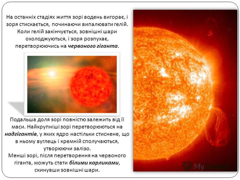 На останніх стадіях життя зорі водень вигорає, і зоря стискається, починаючи випалювати гелій. Коли гелій закінчується, зовнішні шари охолоджуються, і зоря розпухає, перетворюючись на червоного гіганта. Подальша доля зорі повністю залежить від її мас
