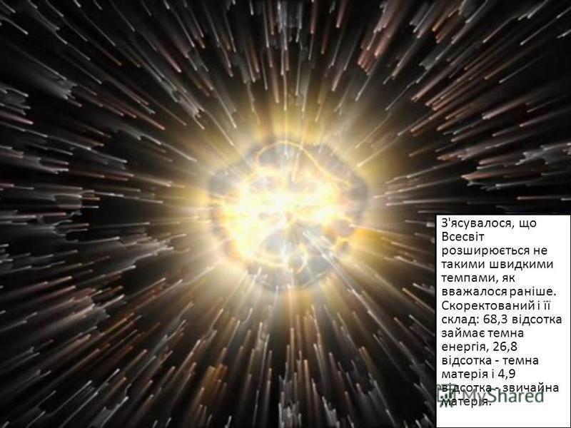 З'ясувалося, що Всесвіт розширюється не такими швидкими темпами, як вважалося раніше. Скоректований і її склад: 68,3 відсотка займає темна енергія, 26,8 відсотка - темна матерія і 4,9 відсотка - звичайна матерія.