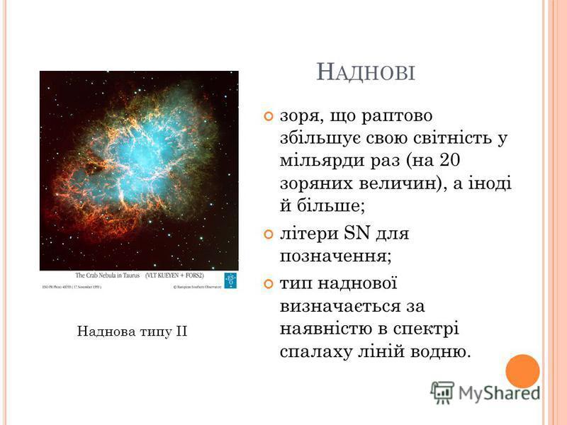 Н АДНОВІ зоря, що раптово збільшує свою світність у мільярди раз (на 20 зоряних величин), а іноді й більше; літери SN для позначення; тип наднової визначається за наявністю в спектрі спалаху ліній водню. Наднова типу II