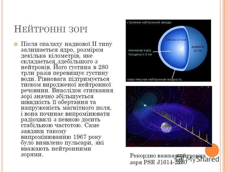 Н ЕЙТРОННІ ЗОРІ Після спалаху наднової II типу залишається ядро, розміром декілька кілометрів, яке складається здебільшого з нейтронів. Його густина в 280 трлн разів перевищує густину води. Рівновага підтримується тиском виродженої нейтронної речовин