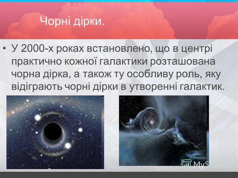 Чорні дірки. У 2000-х роках встановлено, що в центрі практично кожної галактики розташована чорна дірка, а також ту особливу роль, яку відіграють чорні дірки в утворенні галактик.
