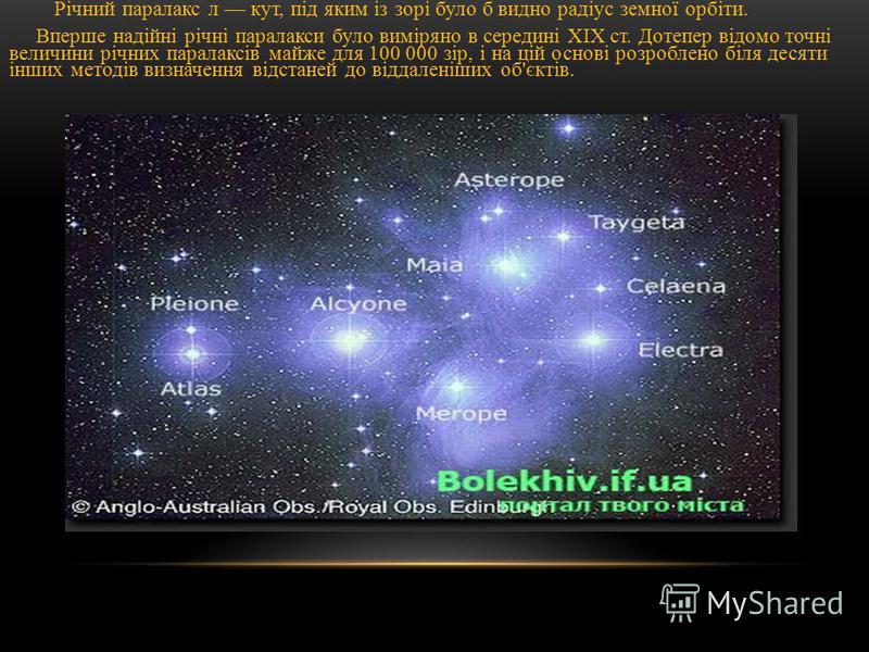 Річний паралакс л кут, під яким із зорі було б видно радіус земної орбіти. Вперше надійні річні паралакси було виміряно в середині XIX ст. Дотепер відомо точні величини річних паралаксів майже для 100 000 зір, і на цій основі розроблено біля десяти і