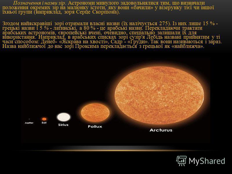 Позначення і назви зір. Астрономи минулого задовольнялися тим, що визначали положення окремих зір на малюнку істоти, яку вони «бачили» у візерунку тієї чи іншої їхньої групи (наприклад, зоря Серце Скорпіона). Згодом найяскравіші зорі отримали власні