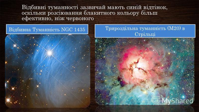 Відбивні туманності зазвичай мають синій відтінок, оскільки розсіювання блакитного кольору більш ефективно, ніж червоного Відбивна Туманність NGC 1435 Трироздільна туманність (M20) в Стрільці