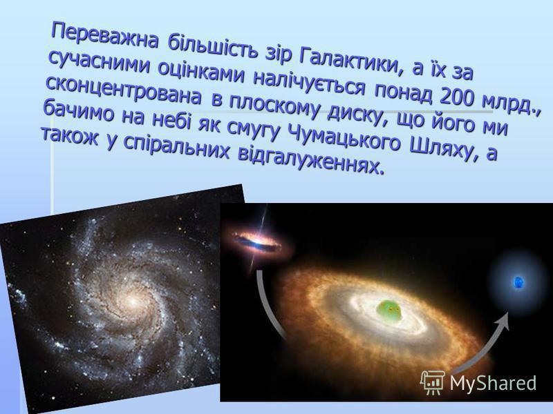 Переважна більшість зір Галактики, а їх за сучасними оцінками налічується понад 200 млрд., сконцентрована в плоскому диску, що його ми бачимо на небі як смугу Чумацького Шляху, а також у спіральних відгалуженнях.