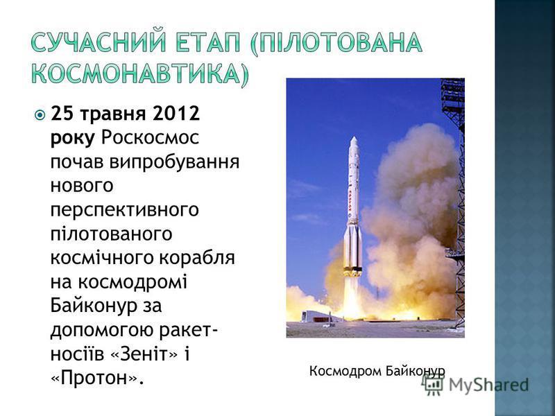 25 травня 2012 року Роскосмос почав випробування нового перспективного пілотованого космічного корабля на космодромі Байконур за допомогою ракет- носіїв «Зеніт» і «Протон». Космодром Байконур