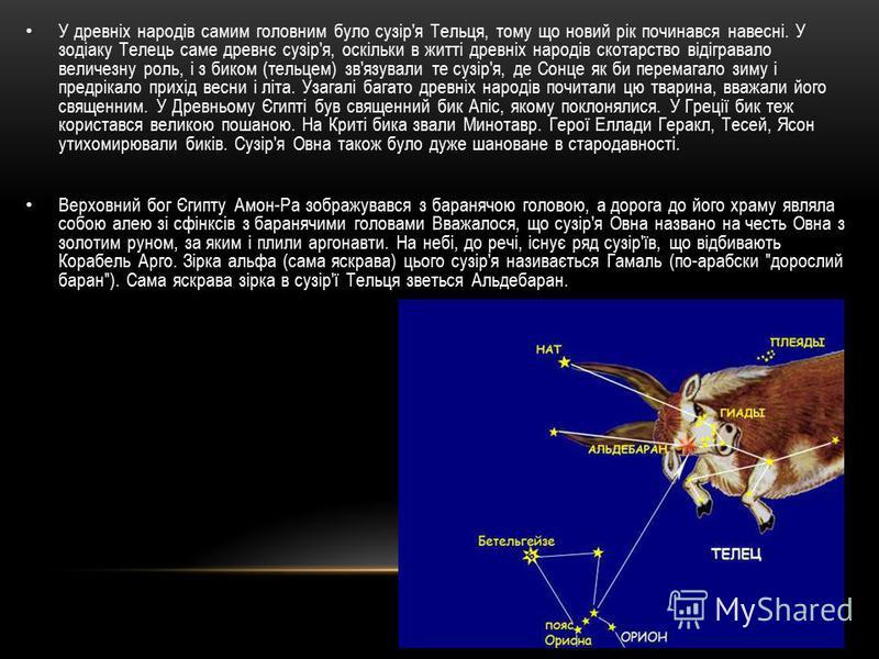 У древніх народів самим головним було сузір'я Тельця, тому що новий рік починався навесні. У зодіаку Телець саме древнє сузір'я, оскільки в житті древніх народів скотарство відігравало величезну роль, і з биком (тельцем) зв'язували те сузір'я, де Сон