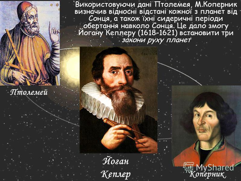 Використовуючи дані Птолемея, М.Коперник визначив відносні відстані кожної з планет від Сонця, а також їхні сидеричні періоди обертання навколо Сонця. Це дало змогу Йогану Кеплеру (1618-1621) встановити три закони руху планет Птолемей Коперник Йоган