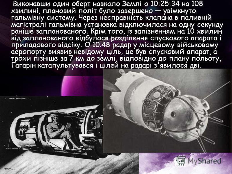Виконавши один оберт навколо Землі о 10:25:34 на 108 хвилині, плановий політ було завершено увімкнуто гальмівну систему. Через несправність клапана в паливній магістралі гальмівна установка відключилася на одну секунду раніше запланованого. Крім того