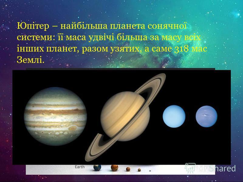 Юпітер – найбільша планета сонячної системи: її маса удвічі більша за масу всіх інших планет, разом узятих, а саме 318 мас Землі.