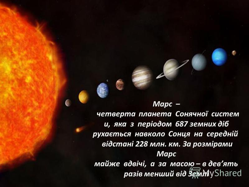 Марс – четверта планета Сонячної систем и, яка з періодом 687 земних діб рухається навколо Сонця на середній відстані 228 млн. км. За розмірами Марс майже вдвічі, а за масою – в девять разів менший від Землі