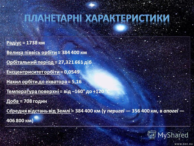 Радіус = 1738 км Велика піввісь орбіти = 384 400 км Орбітальний період = 27,321 661 діб Ексцентриситет орбіти = 0,0549 Нахил орбіти до екватора = 5,16 Температура поверхні = від 160° до +120 °C Доба = 708 годин Середня відстань від Землі = 384 400 км
