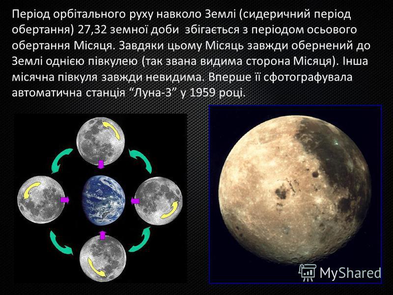 Період орбітального руху навколо Землі (сидеричний період обертання) 27,32 земної доби збігається з періодом осьового обертання Місяця. Завдяки цьому Місяць завжди обернений до Землі однією півкулею (так звана видима сторона Місяця). Інша місячна пів