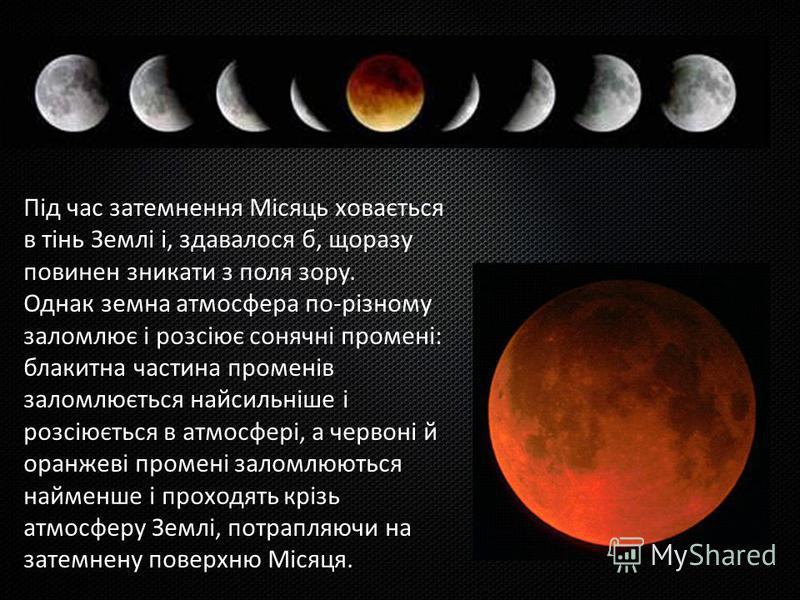 Під час затемнення Місяць ховається в тінь Землі і, здавалося б, щоразу повинен зникати з поля зору. Однак земна атмосфера по-різному заломлює і розсіює сонячні промені: блакитна частина променів заломлюється найсильніше і розсіюється в атмосфері, а