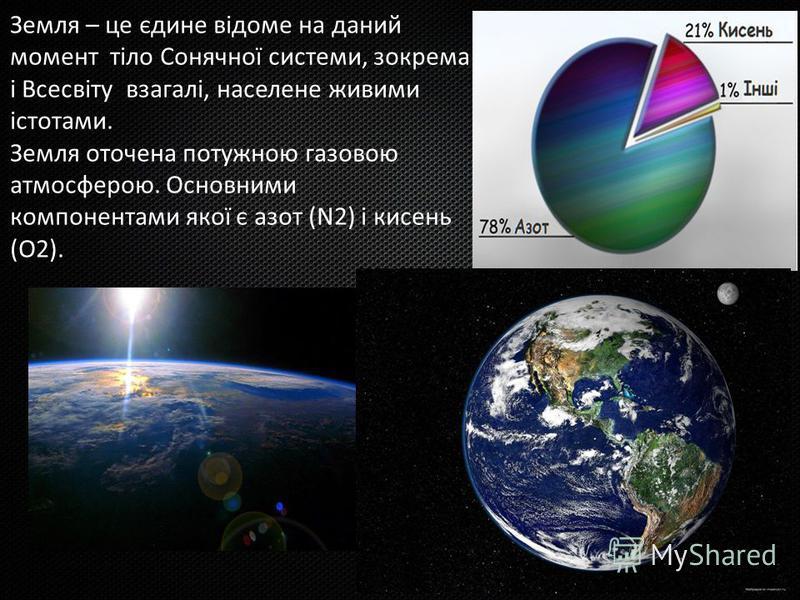 Земля – це єдине відоме на даний момент тіло Сонячної системи, зокрема і Всесвіту взагалі, населене живими істотами. Земля оточена потужною газовою атмосферою. Основними компонентами якої є азот (N2) і кисень (O2).
