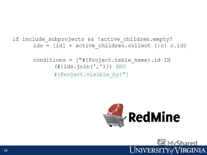 if include_subprojects && !active_children.empty? ids = [id] + active_children.collect {|c| c.id} conditions = [#{Project.table_name}.id IN (#{ids.join(',')}) AND #{Project.visible_by}] 24