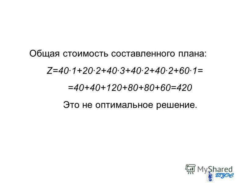 Общая стоимость составленного плана: Z=40·1+20·2+40·3+40·2+40·2+60·1= =40+40+120+80+80+60=420 Это не оптимальное решение.