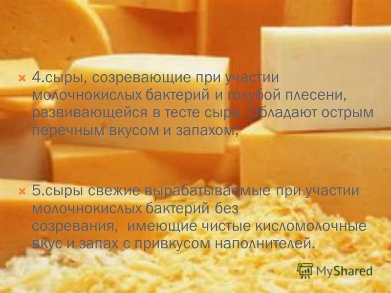 4.сыры, созревающие при участии молочнокислых бактерий и голубой плесени, развивающейся в тесте сыра. Обладают острым перечным вкусом и запахом; 5. сыры свежие вырабатываемые при участии молочнокислых бактерий без созревания, имеющие чистые кисломоло