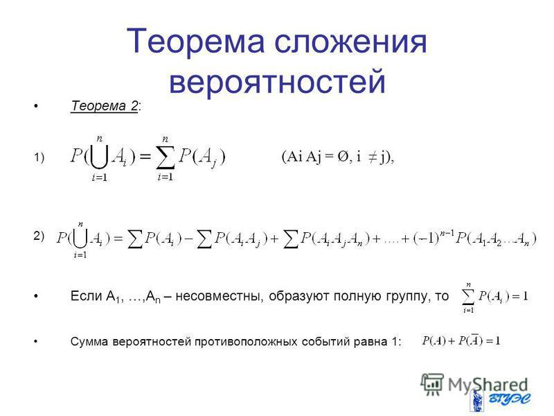 Теорема сложения вероятностей Теорема 2: 1) (Ai Aj = Ø, i j), 2). Если A 1, …,A n – несовместны, образуют полную группу, то Сумма вероятностей противоположных событий равна 1: