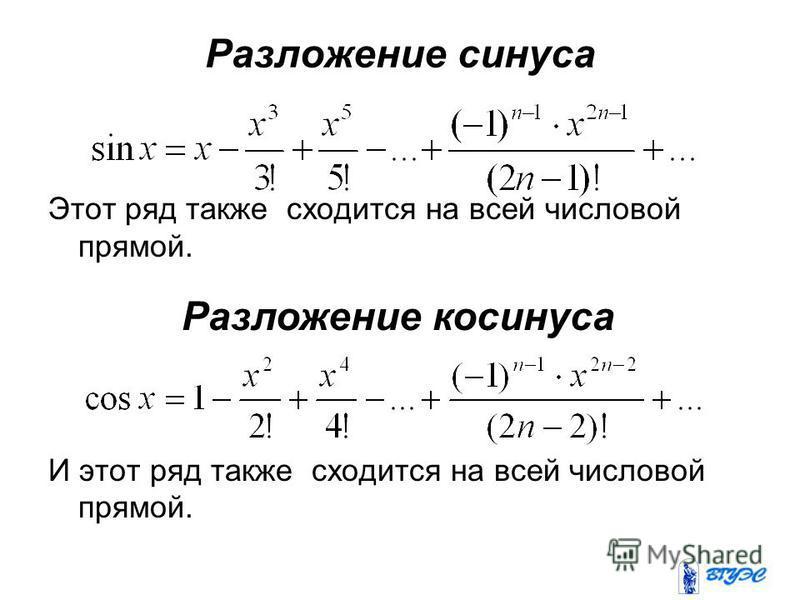 Разложение синуса Этот ряд также сходится на всей числовой прямой. И этот ряд также сходится на всей числовой прямой. Разложение косинуса