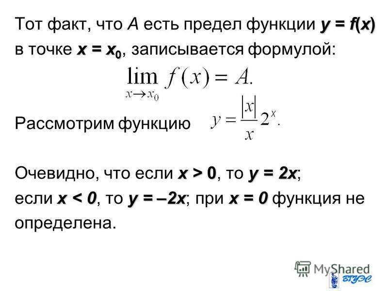 y = f(x) Тот факт, что A есть предел функции y = f(x) x = x 0 в точке x = x 0, записывается формулой: Рассмотрим функцию x > 0y = 2x Очевидно, что если x > 0, то y = 2x; x < 0y = –2xx = 0 если x < 0, то y = –2x; при x = 0 функция не определена.