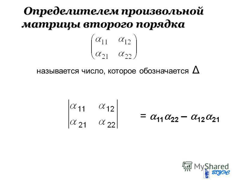Определителем произвольной матрицы второго порядка Определителем произвольной матрицы второго порядка называется число, которое обозначается Δ = 11 22 – 12 21