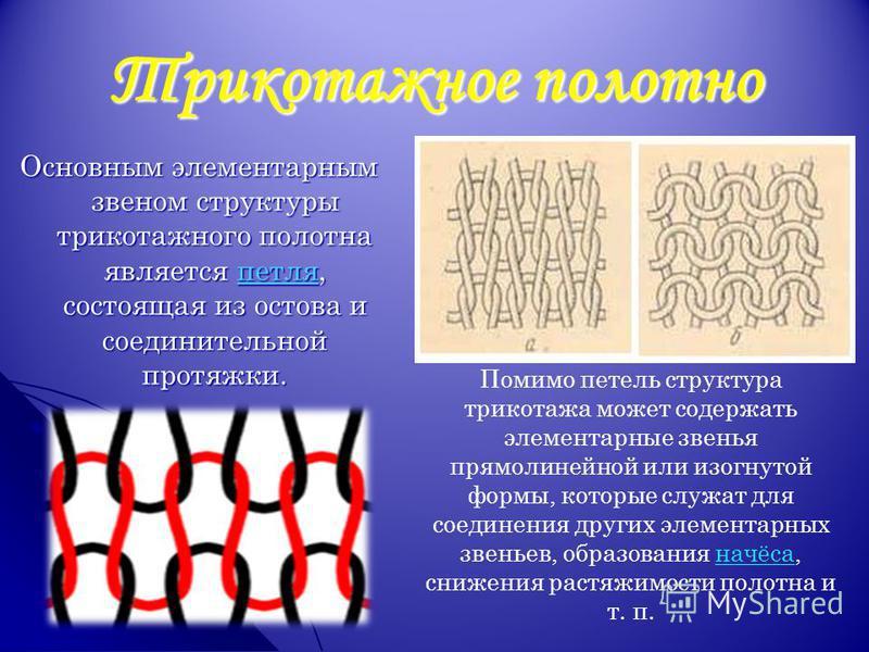 Трикотажное полотно Основным элементарным звеном структуры трикотажного полотна является петля, состоящая из остова и соединительной протяжки. Помимо петель структура трикотажа может содержать элементарные звенья прямолинейной или изогнутой формы, ко