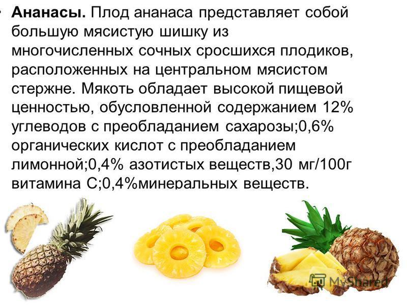Ананасы. Плод ананаса представляет собой большую мясистую шишку из многочисленных сочных сросшихся плодиков, расположенных на центральном мясистом стержне. Мякоть обладает высокой пищевой ценностью, обусловленной содержанием 12% углеводов с преоблада