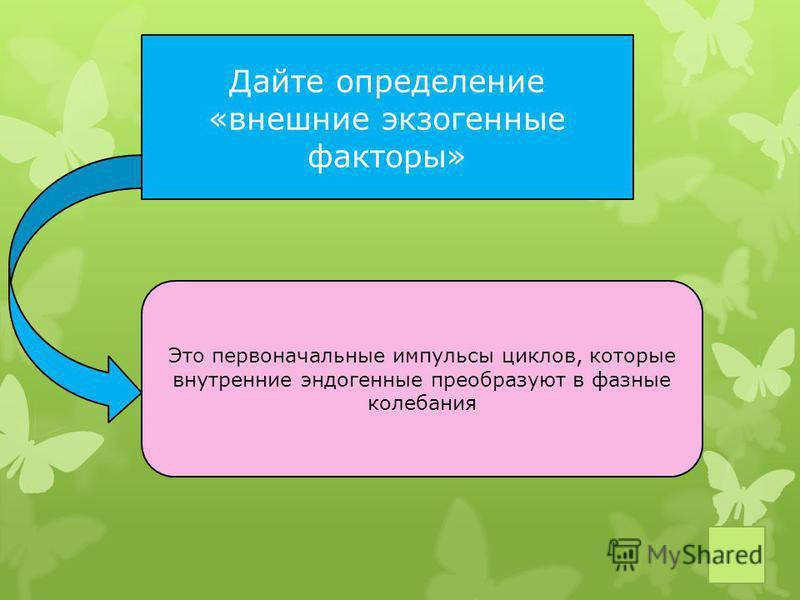 Дайте определение «внешние экзогенные факторы» Это первоначальные импульсы циклов, которые внутренние эндогенные преобразуют в фазные колебания