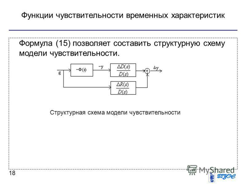 Функции чувствительности временных характеристик 18 Формула (15) позволяет составить структурную схему модели чувствительности. Структурная схема модели чувствительности