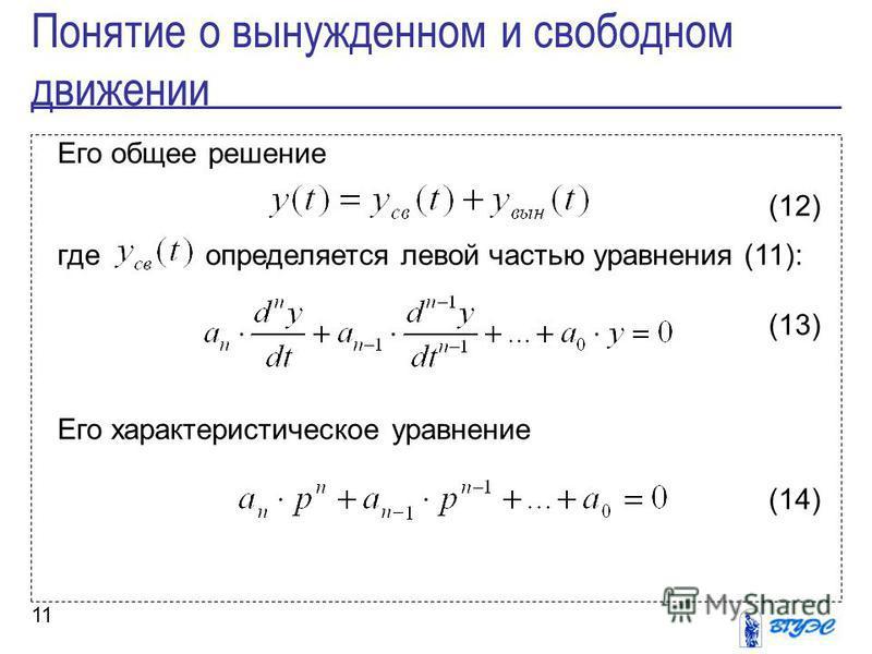 11 Его общее решение (12) где определяется левой частью уравнения (11): (13) Его характеристическое уравнение (14) Понятие о вынужденном и свободном движении