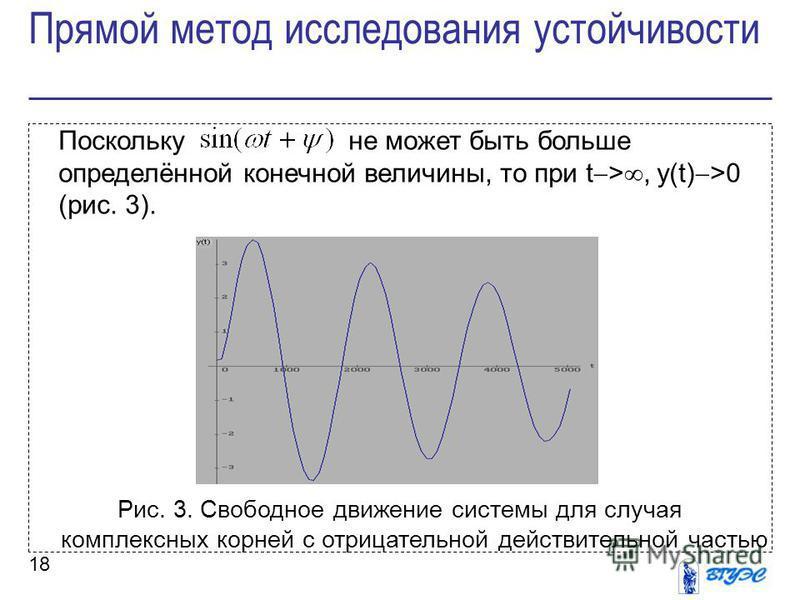 18 Поскольку не может быть больше определённой конечной величины, то при t >, y(t) >0 (рис. 3). Рис. 3. Свободное движение системы для случая комплексных корней с отрицательной действительной частью Прямой метод исследования устойчивости