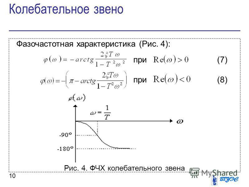 10 Фазочастотная характеристика (Рис. 4): при (7) при (8) Рис. 4. ФЧХ колебательного звена Колебательное звено