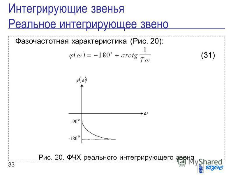 33 Фазочастотная характеристика (Рис. 20): (31) Рис. 20. ФЧХ реального интегрирующего звена Интегрирующие звенья Реальное интегрирующее звено