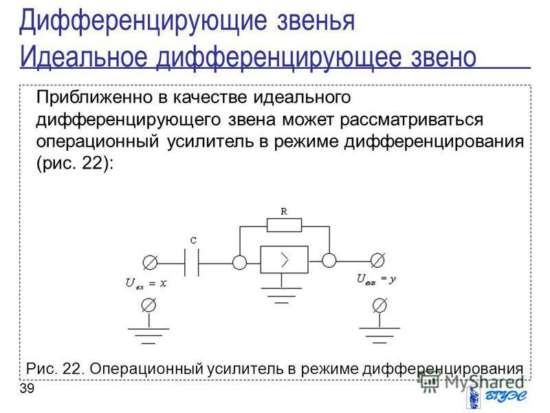 39 Приближенно в качестве идеального дифференцирующего звена может рассматриваться операционный усилитель в режиме дифференцирования (рис. 22): Рис. 22. Операционный усилитель в режиме дифференцирования Дифференцирующие звенья Идеальное дифференцирую