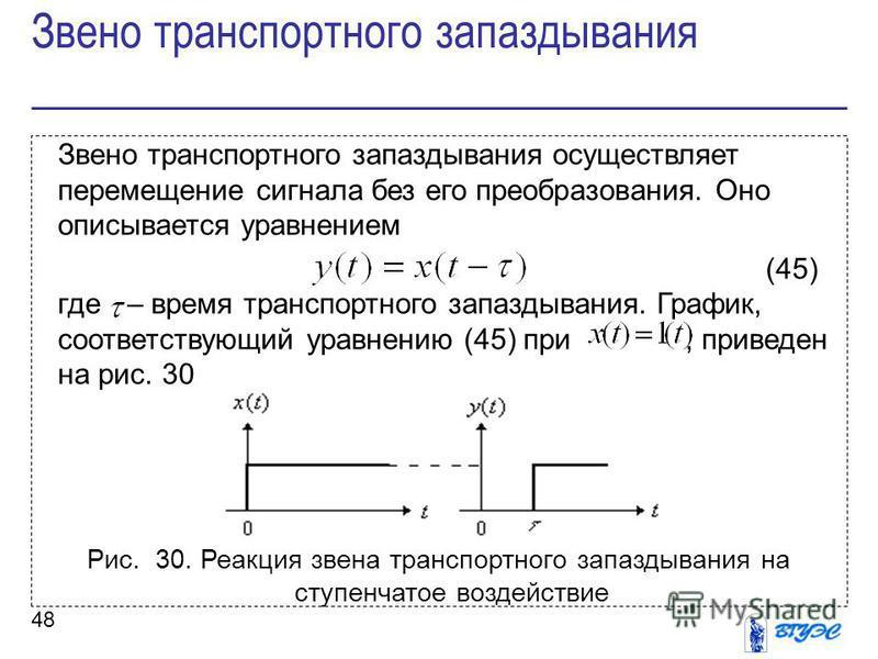 48 Звено транспортного запаздывания осуществляет перемещение сигнала без его преобразования. Оно описывается уравнением (45) где – время транспортного запаздывания. График, соответствующий уравнению (45) при, приведен на рис. 30 Рис. 30. Реакция звен