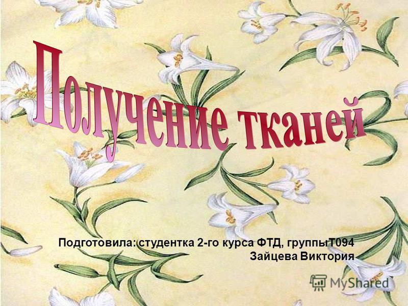 Подготовила: студентка 2-го курса ФТД, группыТ094 Зайцева Виктория