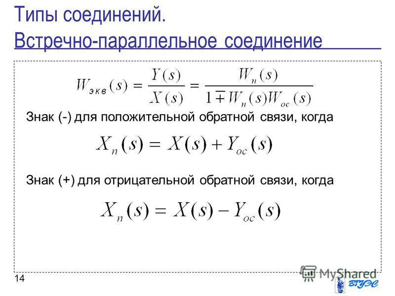 14 Знак (-) для положительной обратной связи, когда Знак (+) для отрицательной обратной связи, когда Типы соединений. Встречно-параллельное соединение