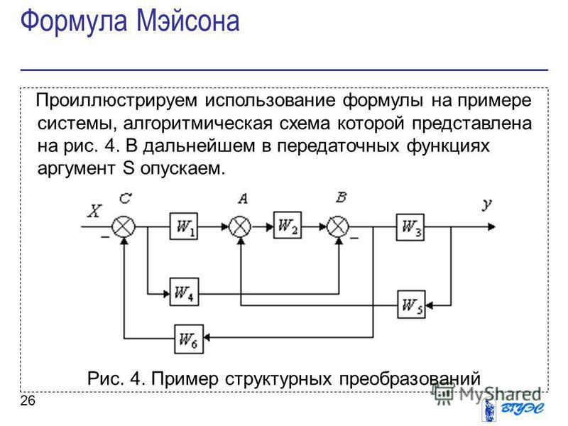 26 Проиллюстрируем использование формулы на примере системы, алгоритмическая схема которой представлена на рис. 4. В дальнейшем в передаточных функциях аргумент S опускаем. Рис. 4. Пример структурных преобразований Формула Мэйсона