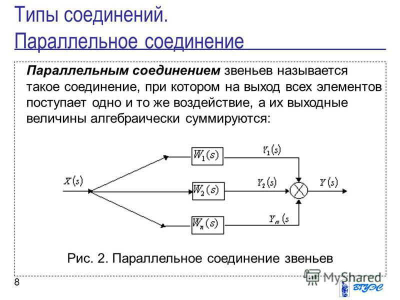 8 Параллельным соединением звеньев называется такое соединение, при котором на выход всех элементов поступает одно и то же воздействие, а их выходные величины алгебраически суммируются: Рис. 2. Параллельное соединение звеньев Типы соединений. Паралле