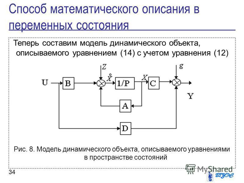 34 Теперь составим модель динамического объекта, описываемого уравнением (14) с учетом уравнения (12) Рис. 8. Модель динамического объекта, описываемого уравнениями в пространстве состояний Способ математического описания в переменных состояния